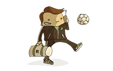 Ready Steady Store mascot as a football player