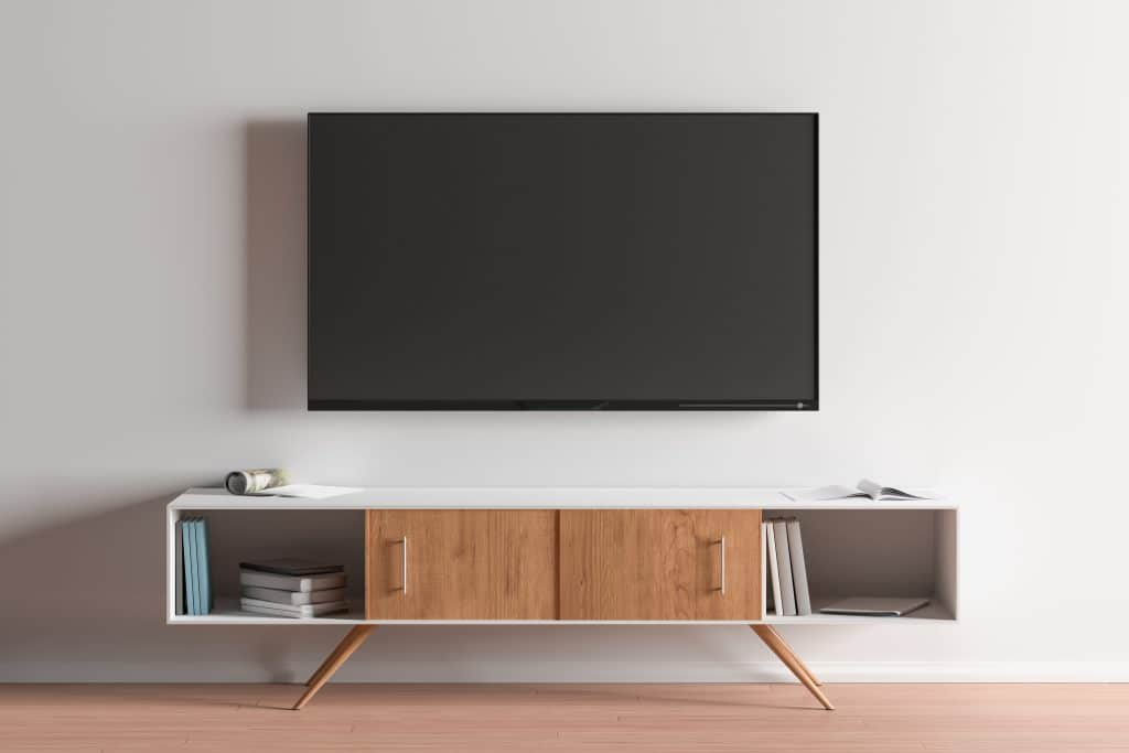 wall-mounted TV with hidden cables
