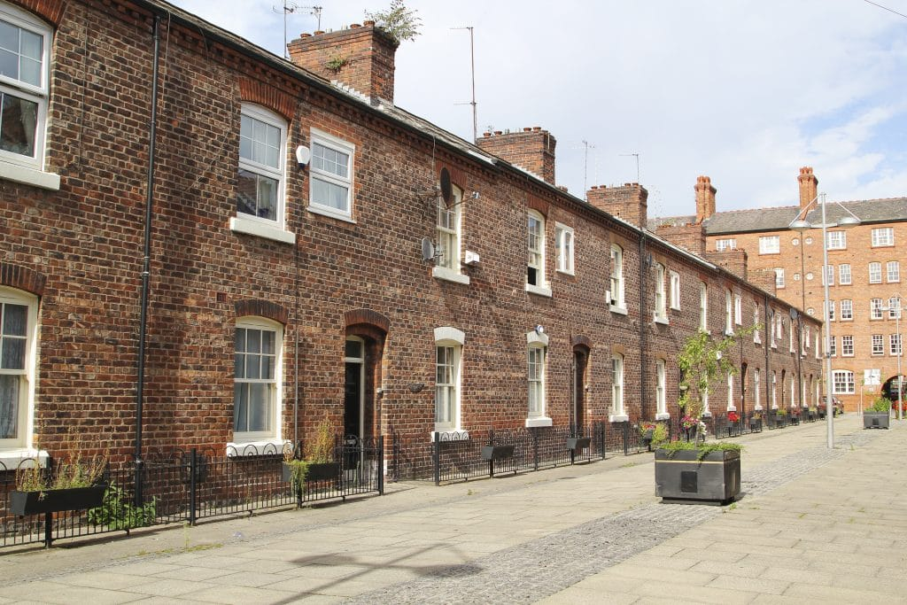 Terraced houses on Manchester street