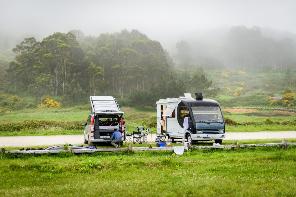 RV and motorhome parked up for night
