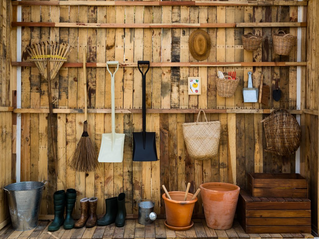 vertical shed storage for gardening tools